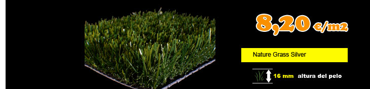 Cesped artificial nature grass silver